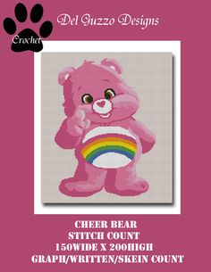 (4) Name: 'Crocheting : Care Bears Cheer Bear Crochet Graph
