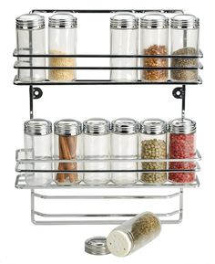 Kitchen, : Endearing Image Of Black Metal Iron Hanging Wall Spice Rack For Kitchen Wall Decoration