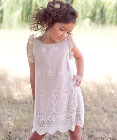 Another great find on #zulily! Beige Lace Angel-Sleeve Dress - Toddler & Girls by Sweet Charlotte #zulilyfinds $29.99