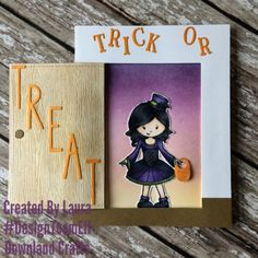 Handmade Halloween card using Downland Crafts Countess Elaine Stamp. Made by Laura Whelan of Charmed Greetings. Handmade Card Making, Interactive Cards, Halloween Cards, Trick Or Treat, Greeting Cards, Charmed, Create, Stamps, Fun