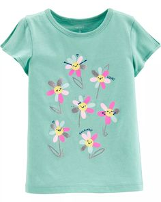 Glitter Flower Split Shoulder Jersey Tee | carters.com Kids Dress Wear, Dresses Kids Girl, Girl Outfits, Cute Outfits, Carters Baby Girl, Toddler Girl, Glitter Flowers, How Big Is Baby, Big Baby