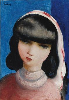 Moïse Kisling (1891-1953, Polish- French), Portrait d'une jeune femme brune (Portrait of a young brunette woman).