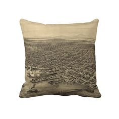Vintage Pictorial Map of Seattle (1878) Pillow from Zazzle.com $62.40