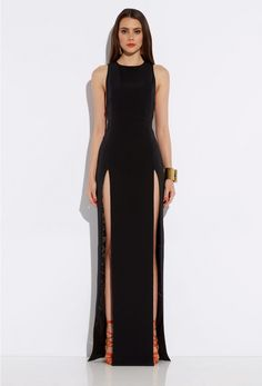F block long dress high slit