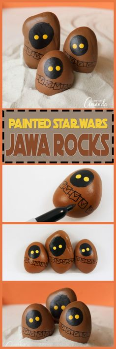 These Star Wars Jawa Rocks are a great painted rock craft for kids or adults. Any Star Wars fan would love to add these jawa rocks to their collection!