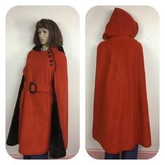 60s Cape, Rust Wool Cape , Brown Plush Fur Lining, Hooded Coat Fur Reversible 1960s Coat One Size Fits Most by 3GenerationCuration on Etsy Wool Cape, Coat Sale, Stay Warm, Rust, 1960s, High Neck Dress, Vintage Winter, Winter Coats, Capes