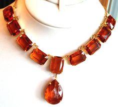 Vintage 1980s Large Emerald Cut Amber Rhinestone Necklace