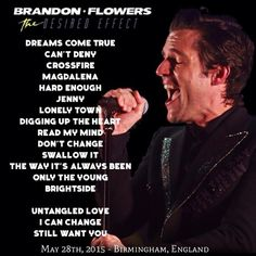 Brandon Flower's The Desired Effect tour - Europe - O2 Academy, Birmingham - Tonight's setlist for 28th May 2015