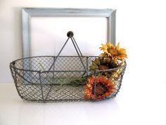 Vintage French Wire Basket Market Basket Wood Handle Fishing Basket Farmhouse Decor by RollingHillsVintage on Etsy