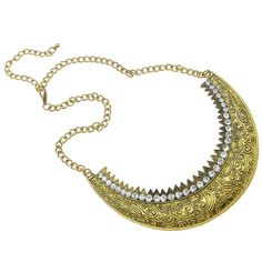 Regal Victorian Filigree & Rhinestone Studded Gold Tone Necklace $14.00