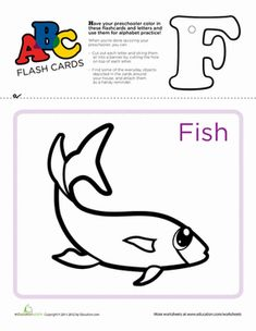 Preschool The Alphabet Reading Flash Cards Letter F Worksheets: ABC Flashcards: F Writing Worksheets, Preschool Worksheets, Printable Worksheets, Learning The Alphabet, Kids Learning, Alphabet Charts, Alphabet Letters, Letter Flashcards, School Information