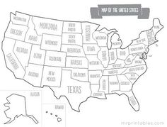 Printable map of USA with states names.  Other maps on this site that range from blank to capitols & even full color.