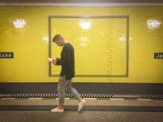 Walk the line…  #berlin #germany #jannowitzbrücke #jannowitzbruecke #underground #station #train #trainstation #ubahn #yellow #grey #people #man #portrait #smombies #street #streetphotography #style #fashion #colors #colorful #line #walk #walking...