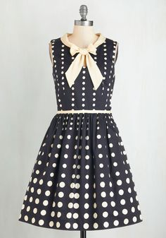 ISO 3X • Peppy Personality Dress. Take on your day with pleasant panache in this dotted fit-and-flare frock from Bea  Dot!  #modcloth