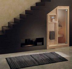 Installed Finnish sauna KOKO EFFEGIBI cellar stairs