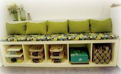 Ikea hack: Custom Kitchen bench from an Ikea Expedit bookshelf.