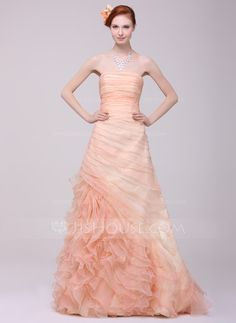 A-Line/Princess Strapless Sweep Train Organza Prom Dress With Ruffle Cascading Ruffles (018016218) - JJsHouse