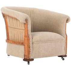 Deconstructed and Exposed Late Victorian Organic Flax Linen Tub Chair. | From a unique collection of antique and modern armchairs at https://www.1stdibs.com/furniture/seating/armchairs/