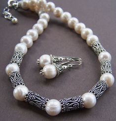 Freshwater pearls with gorgeous ornate sterling silver necklace. Stone Street Studio.
