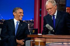 """4. President Barack Obama talks with David Letterman on the set of the """"Late Show With David Letterman"""" at the Ed Sullivan Theater, Tuesday, Sept. 18, 2012, in New York.    Hede: What did Obama say on the 'Late Show with David Letterman""""?    September 19, 2012"""