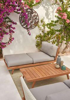 Con este ligero sofá estilo diván tu porche estará de plena tendencia. Outdoor Sofa, Outdoor Spaces, Outdoor Living, Outdoor Furniture, Outdoor Decor, Divan Sofa, Sofa Furniture, Luxury Homes, Pallet