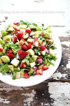 Strawberry, Avocado & Asiago Spring Salad | FamilyFreshCooking.com