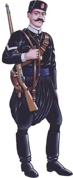 Cretan Gendarmerie Salonika 1913 - Class Gendarme, pin by Paolo Marzioli Military Police, Military Art, Military History, Army, Military Uniforms, Greek Independence, War Photography, Military Diorama, World War One