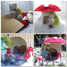 Link to Crocheted Mushroom House using an oatmeal box--Just what I was looking for!