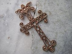 1 Large 3 inch Vintage Brass Filigree Cross Pendant by StarPower99, $11.80