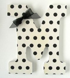 Black & White Custom Decorated Wooden Letters by LetterLuxe