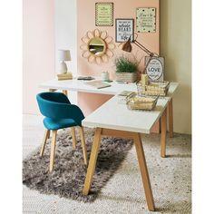 Desks - straight and corner wooden desk- Bureaux – droit et bureau d'angle en bois White corner desk with solid wood base - Corner Office, Office Table, Home Office Decor, Office Furniture, Corner Desk, Home Decor, Decor Room, Luxury Furniture, Wooden Desk