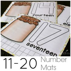 Free Fall Counting Mats: Numbers 11 to 20 Numbers Preschool, Math Numbers, Preschool Math, Math Classroom, Fun Math, Math Games, Teaching Math, Math Activities, Teaching Ideas
