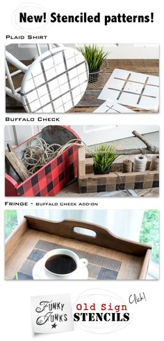 Buffalo Check your world with this stencil! This iconic look is now effortless to recreate, on anything that accepts paint! Dressers, tables, toolboxes, etc.