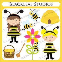 Bee Border Clip Art | Bumble Bee Baby Clip Art - Personal and Commercial Use Downloadable ...