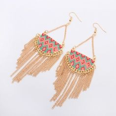 Oorringen tassel multi