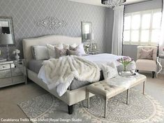 44 Glamorous Bedroom Design Ideas You Will Totally Love - About-Ruth Glam Bedroom, Woman Bedroom, Home Decor Bedroom, Modern Bedroom, Rug For Bedroom, Silver Bedroom Decor, Grey And Gold Bedroom, Light Gray Bedroom, French Bedroom Decor