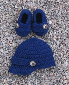 d462a2ef8a5 Newsboy Hat and Loafer Booties with Buttons Navy by modernmemere