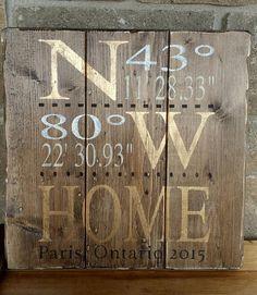 Home Coordinates Wood Sign