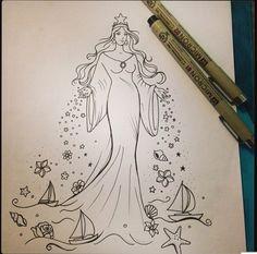 Mãe cujos filhos são peixes Doodle Drawings, Tattoo Drawings, Drawing Sketches, Life Tattoos, Tatoos, Mermaid Sleeve Tattoos, Mermaid Artwork, Viking Symbols, Illustrations And Posters