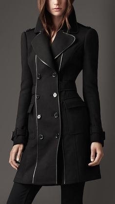 Burberry London Leather Bound Wool Coat