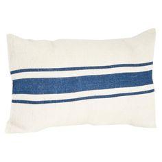 """Striped Design Jute Pillow Navy Blue (14""""x23"""") : Target"""