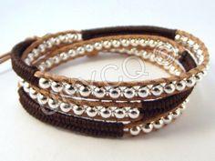 Wikkelarmbanden - Trendy leren triple herringbone wrap bruin/zilver - Een uniek product van Unycq op DaWanda