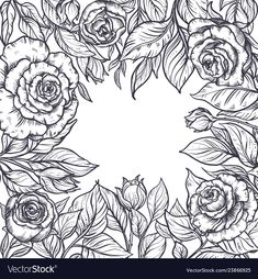Vintage elegant frame with graphic rose flowers vector image on VectorStock Cartoon Coloring Pages, Colouring Pics, Rose Flowers, Elegant Flowers, Diy Embroidery Designs, Printable Flower Coloring Pages, Flower Line Drawings, Surreal Artwork, Floral Drawing