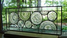 Vintage Crystal plate panel transom by Barbarasstainedglass,