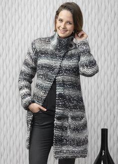 Modèle gratuit : Manteau au point mousse et point jersey envers - explications à télécharger