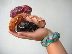 West Elm and Etsy team up with Emma Reddington for the ultimate pop-up shop Leather Cuffs, Leather Belts, Leather Jewelry, Braid Cuffs, Paper Jewelry, Braided Leather, Fashion Bracelets, Braids, Jewelry Design