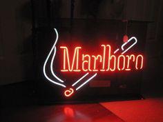"Vintage MARLBORO Cigarette Neon Advertising Sign - LARGE  28"" x 20.5""   #Marlboro"