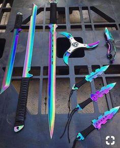 Aaaaa, I want the katana, broadsword, and the wicked looking pocket knife Armas Ninja, Cool Knives, Knives And Swords, Pretty Knives, Shuriken, Pokemon Go, Firearms, Arsenal, Weapons