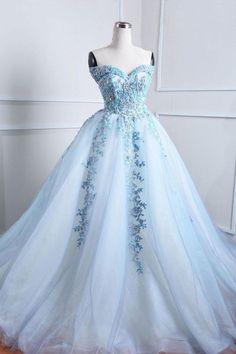 Blue tulle lace applique long prom dress, blue evening dress