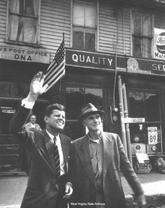 1960 Presidential Campaign in West Virginia Photograph, John F. Kennedy standing in front of the Post Office at Ona, probably April 11, 1960. Ebay Collection ❤❤❤❤❤❤ http://www.jfklibrary.org/JFK/JFK-in-History/Campaign-of-1960.aspx